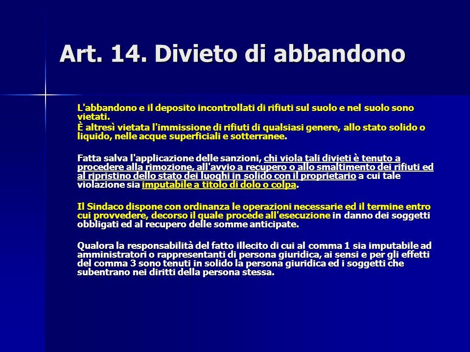 Art. 14. Divieto di abbandono