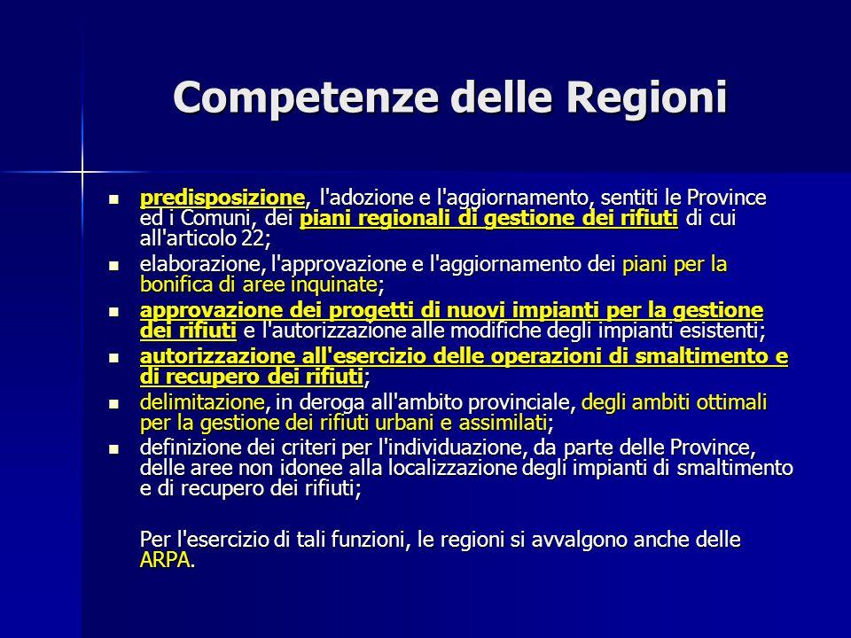 Competenze delle Regioni