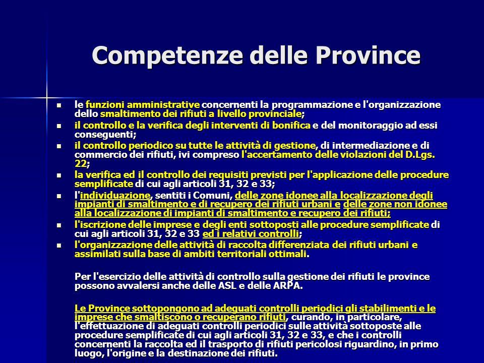 Competenze delle Province