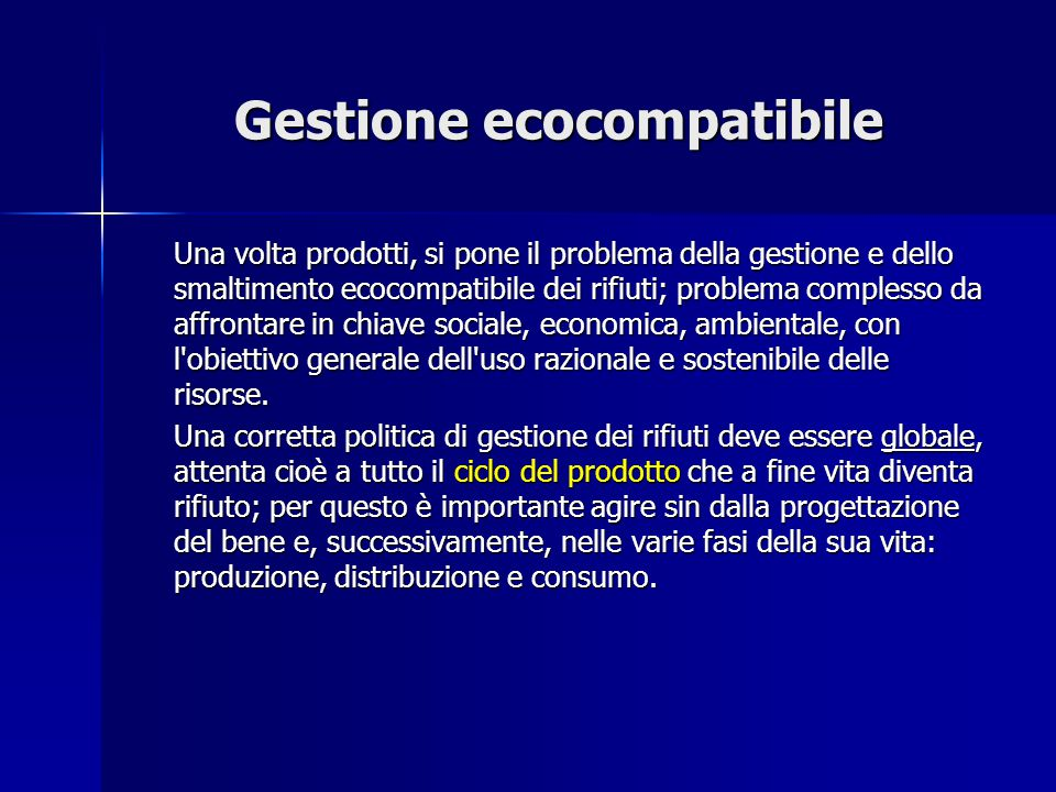 Gestione ecocompatibile