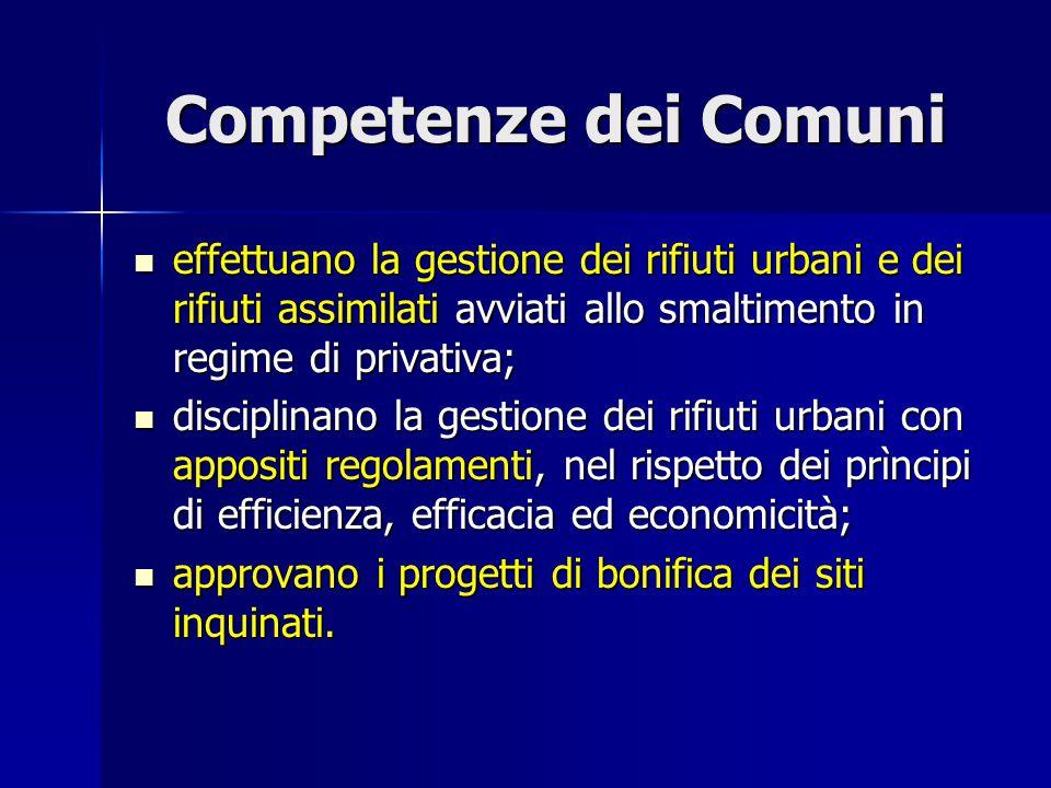 Competenze dei Comuni effettuano la gestione dei rifiuti urbani e dei rifiuti assimilati avviati allo smaltimento in regime di privativa;