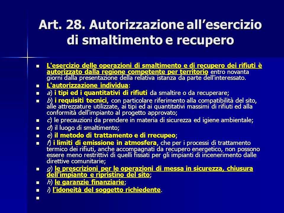 Art. 28. Autorizzazione all'esercizio di smaltimento e recupero