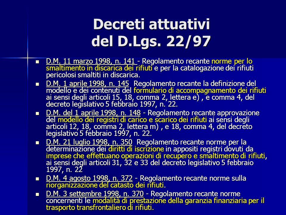 Decreti attuativi del D.Lgs. 22/97