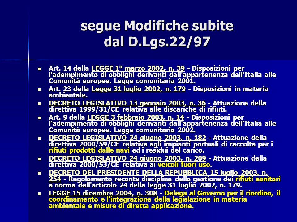 segue Modifiche subite dal D.Lgs.22/97