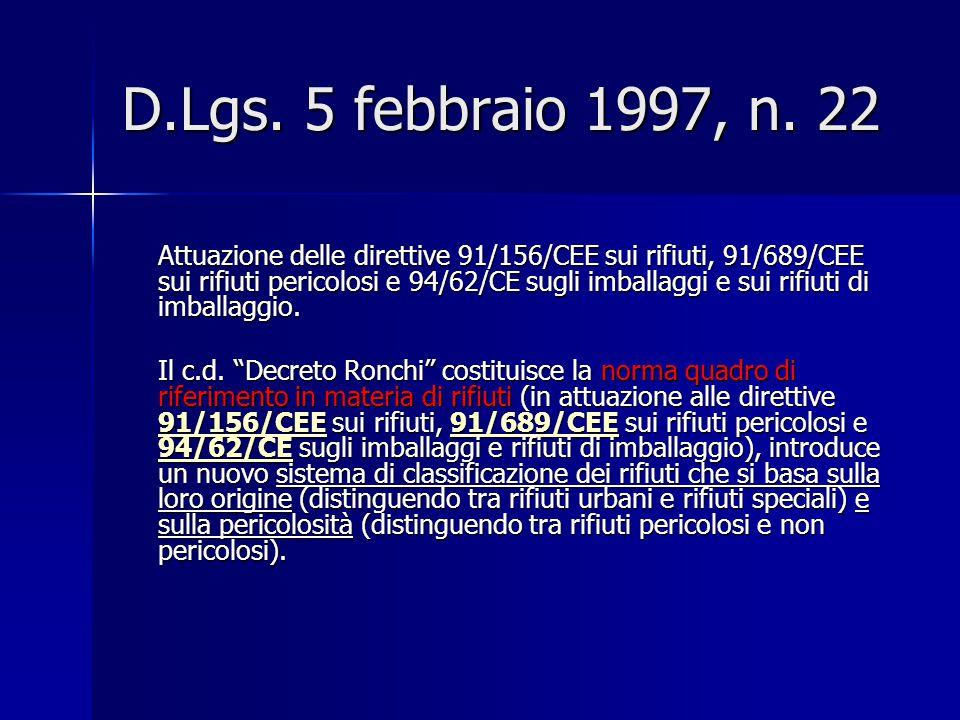 D.Lgs. 5 febbraio 1997, n. 22