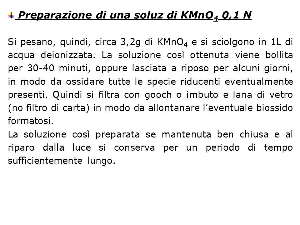Preparazione di una soluz di KMnO4 0,1 N