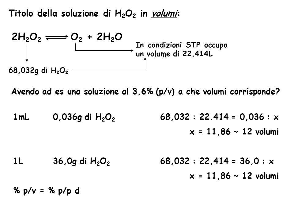 2H2O2 O2 + 2H2O Titolo della soluzione di H2O2 in volumi: