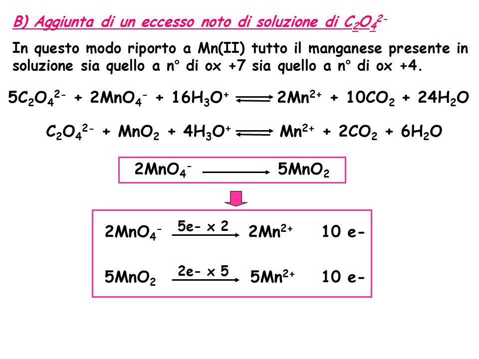 5C2O42- + 2MnO4- + 16H3O+ 2Mn2+ + 10CO2 + 24H2O