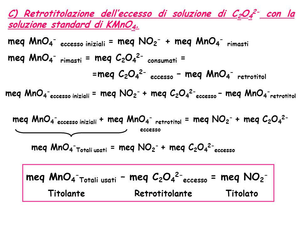 meq MnO4-Totali usati – meq C2O42-eccesso = meq NO2-