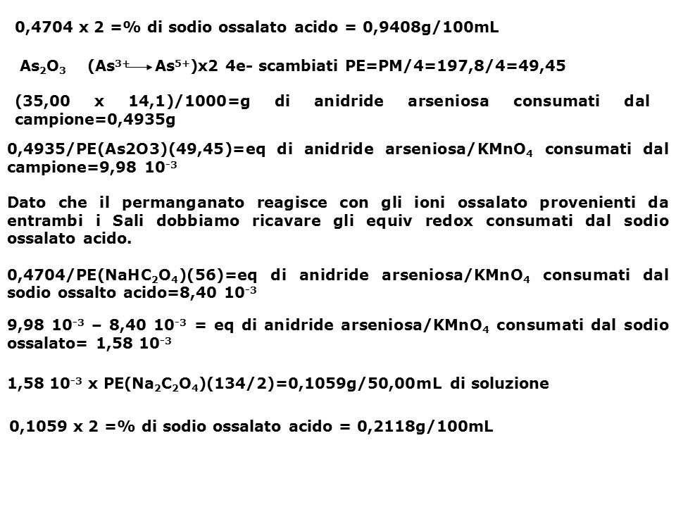 0,4704 x 2 =% di sodio ossalato acido = 0,9408g/100mL