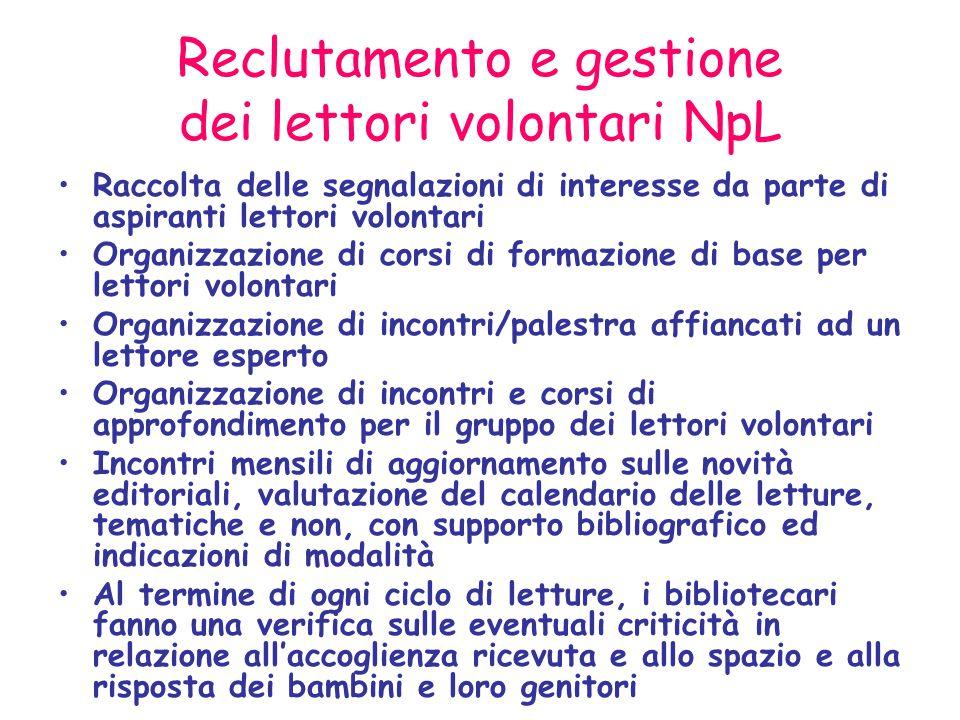 Reclutamento e gestione dei lettori volontari NpL