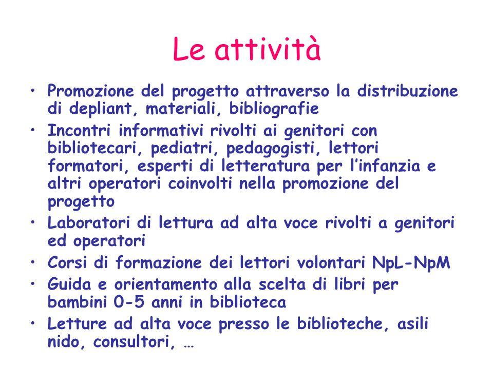 Le attività Promozione del progetto attraverso la distribuzione di depliant, materiali, bibliografie.
