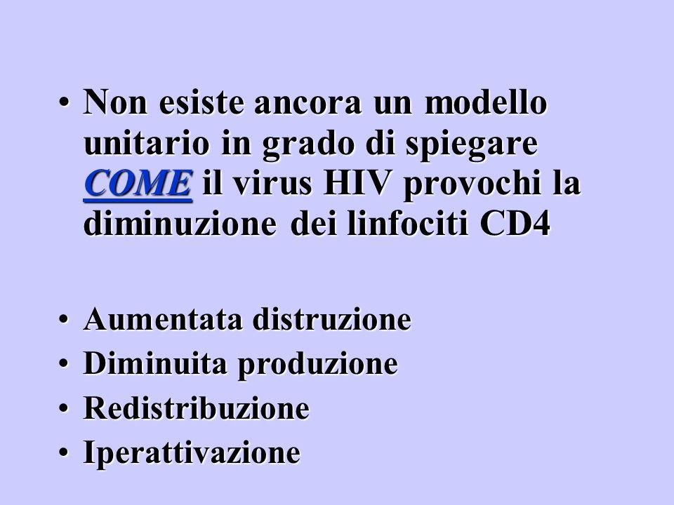 Non esiste ancora un modello unitario in grado di spiegare COME il virus HIV provochi la diminuzione dei linfociti CD4