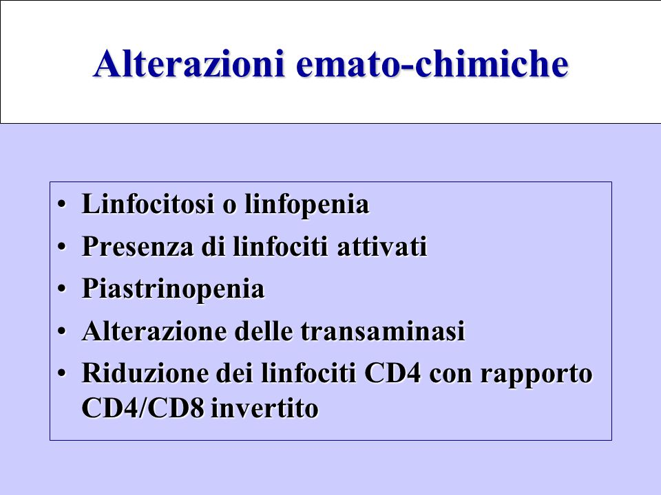 Alterazioni emato-chimiche