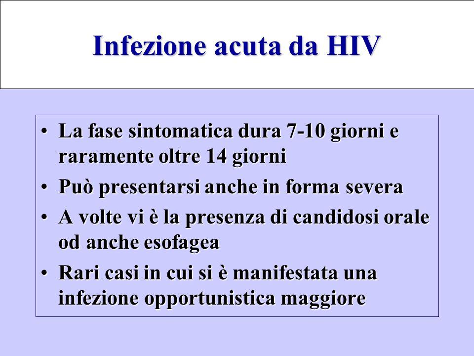Infezione acuta da HIV La fase sintomatica dura 7-10 giorni e raramente oltre 14 giorni. Può presentarsi anche in forma severa.
