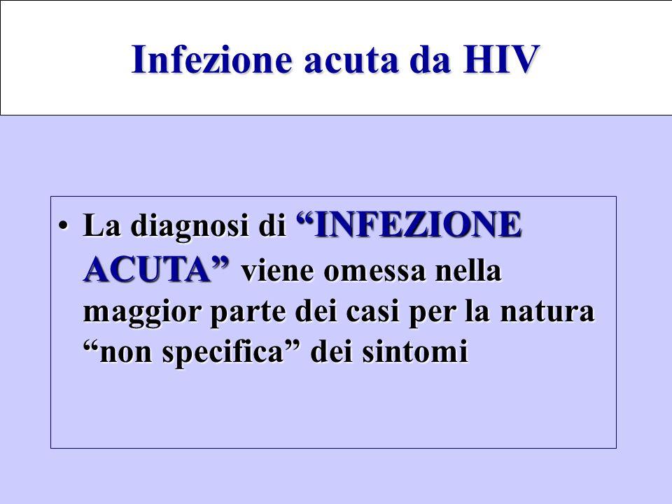 Infezione acuta da HIV La diagnosi di INFEZIONE ACUTA viene omessa nella maggior parte dei casi per la natura non specifica dei sintomi.