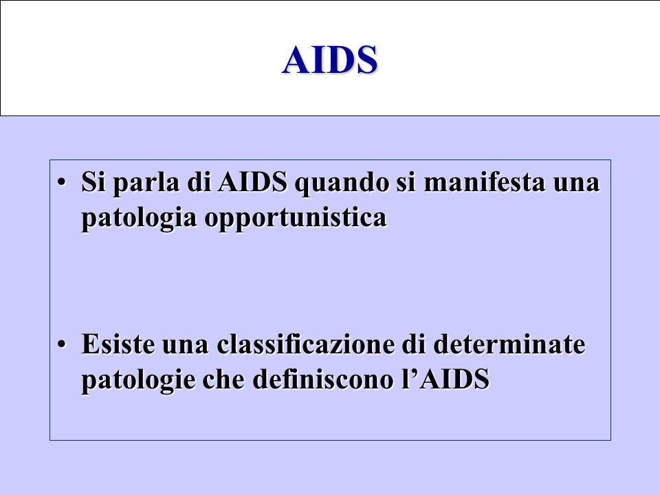 AIDS Si parla di AIDS quando si manifesta una patologia opportunistica