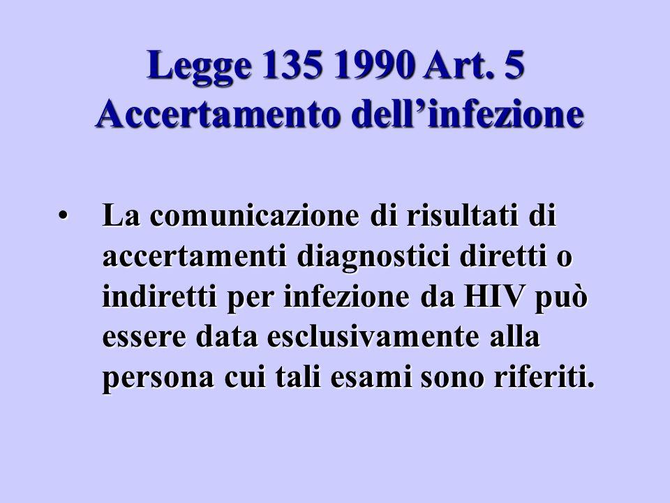 Legge 135 1990 Art. 5 Accertamento dell'infezione