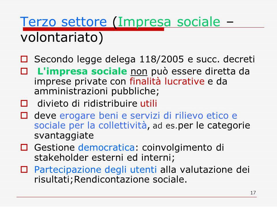 Terzo settore (Impresa sociale –volontariato)