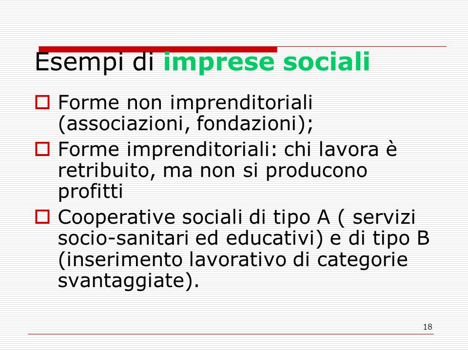 Esempi di imprese sociali