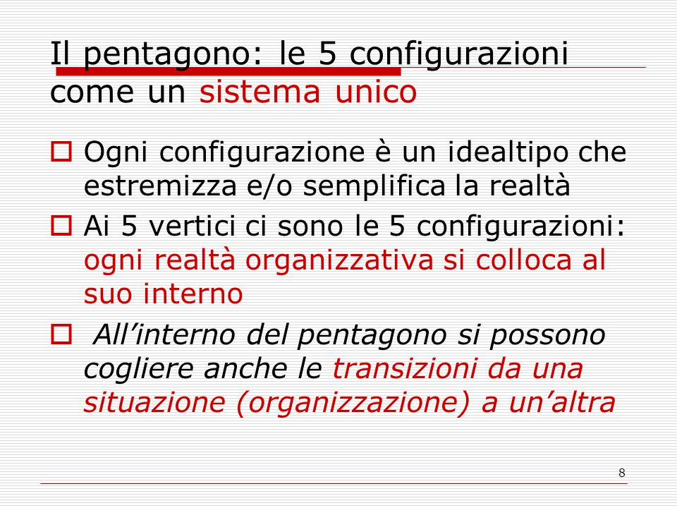 Il pentagono: le 5 configurazioni come un sistema unico