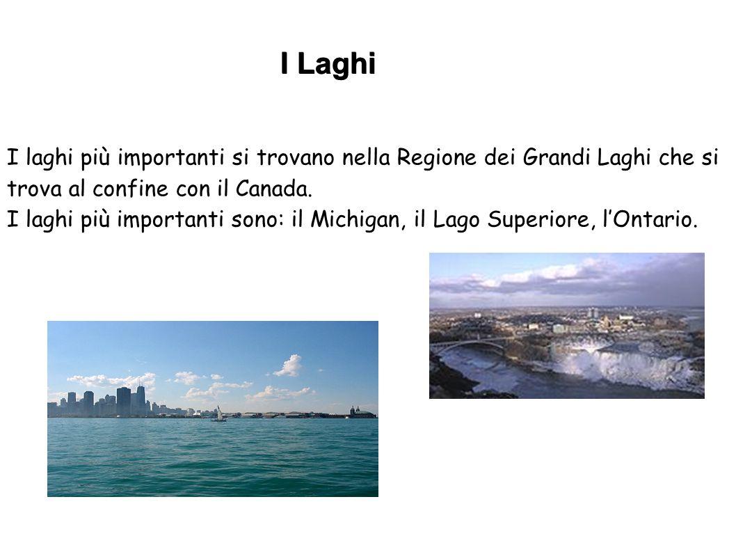 I Laghi I laghi più importanti si trovano nella Regione dei Grandi Laghi che si trova al confine con il Canada.