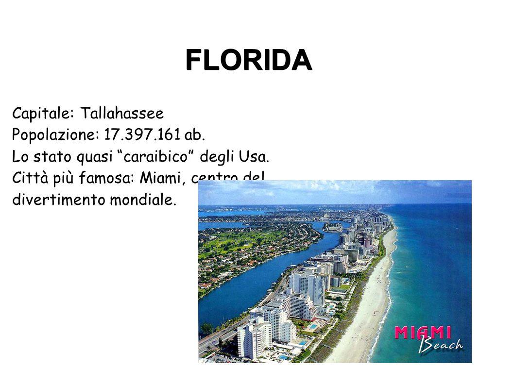 FLORIDA Città più famosa: Miami, centro del divertimento mondiale.