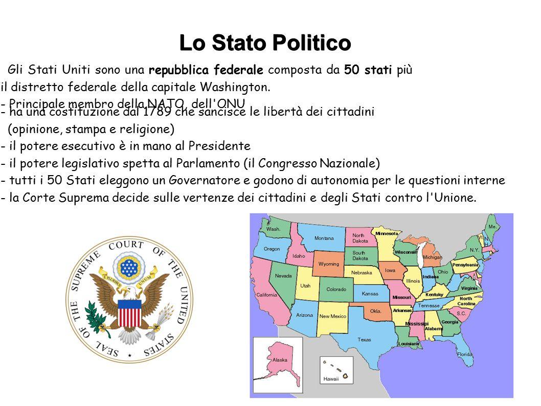 Lo Stato Politico Gli Stati Uniti sono una repubblica federale composta da 50 stati più il distretto federale della capitale Washington.
