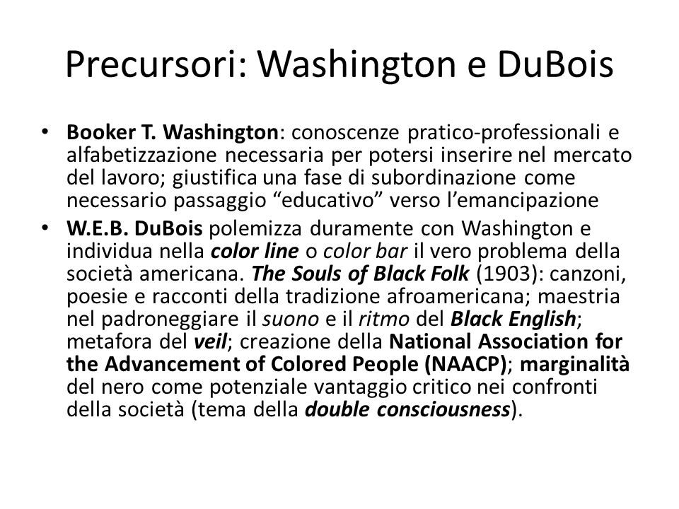 Precursori: Washington e DuBois