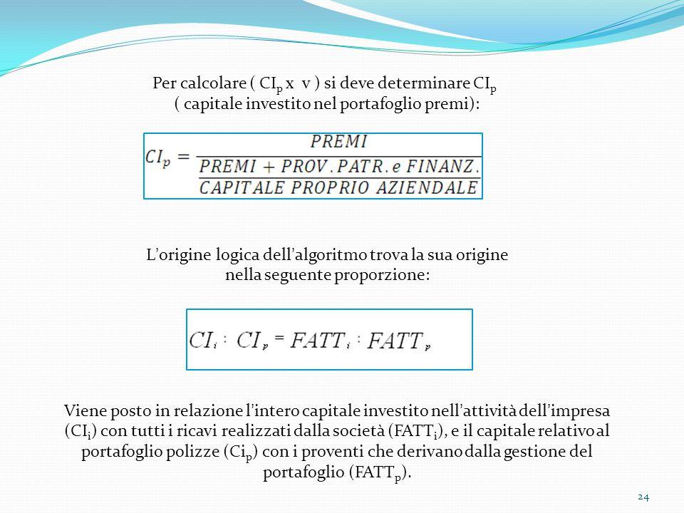 Per calcolare ( CIp x v ) si deve determinare CIp