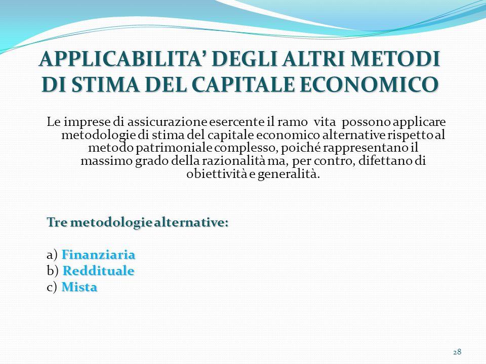 APPLICABILITA' DEGLI ALTRI METODI DI STIMA DEL CAPITALE ECONOMICO