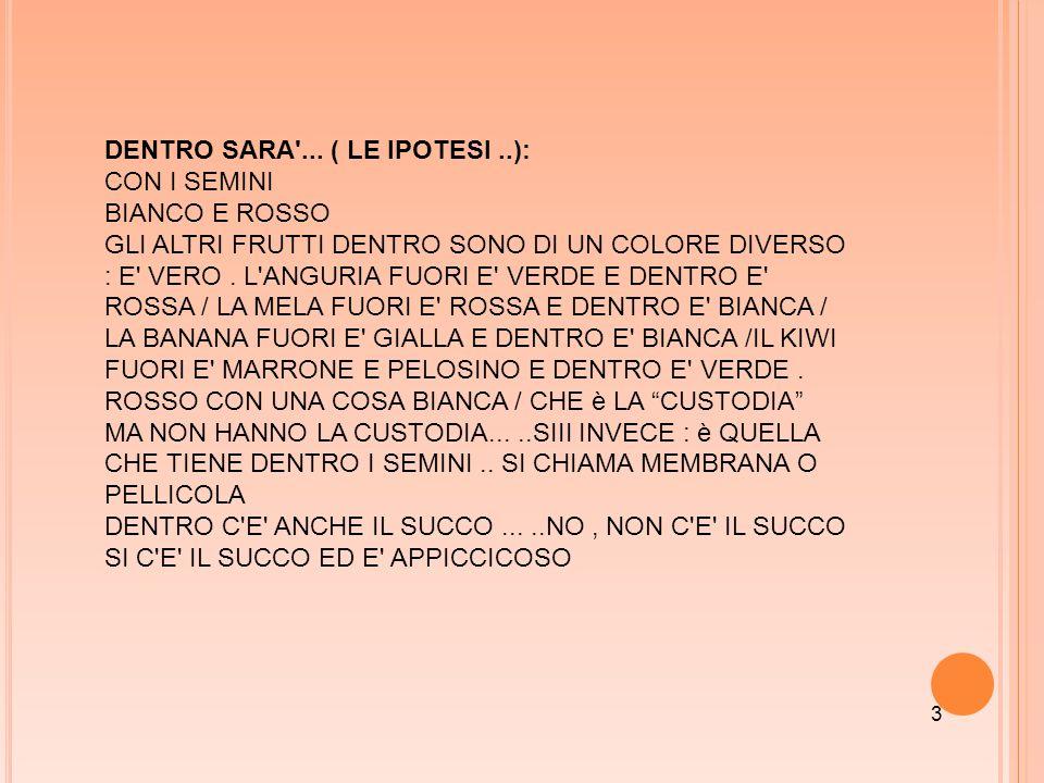 DENTRO SARA ... ( LE IPOTESI ..): CON I SEMINI BIANCO E ROSSO