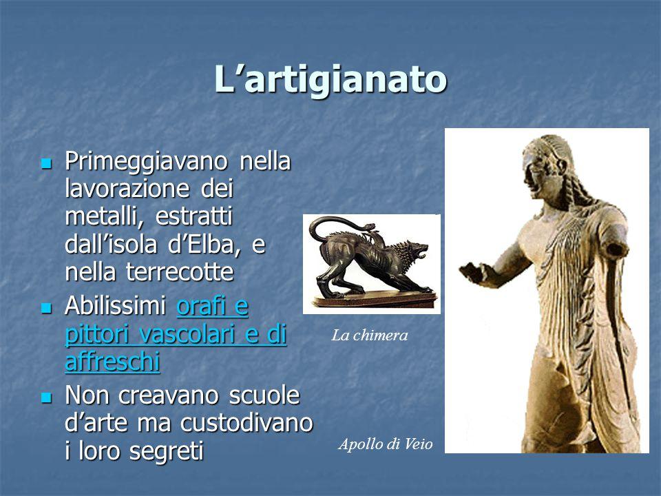 L'artigianato Primeggiavano nella lavorazione dei metalli, estratti dall'isola d'Elba, e nella terrecotte.