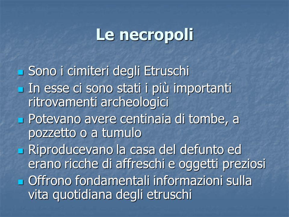 Le necropoli Sono i cimiteri degli Etruschi