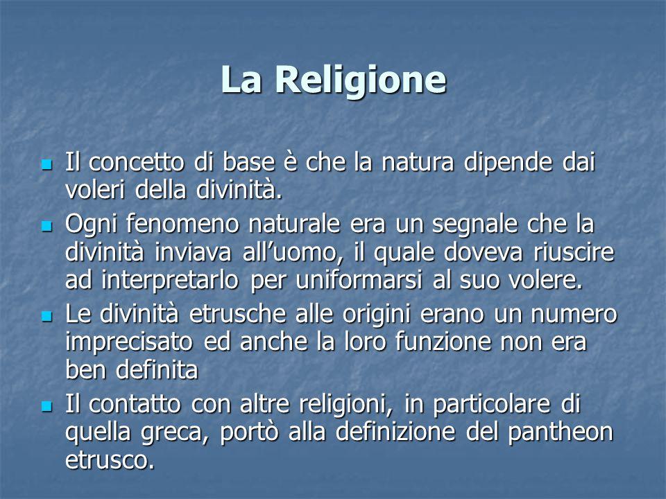 La Religione Il concetto di base è che la natura dipende dai voleri della divinità.