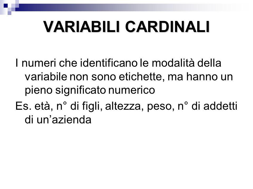 VARIABILI CARDINALI I numeri che identificano le modalità della variabile non sono etichette, ma hanno un pieno significato numerico.