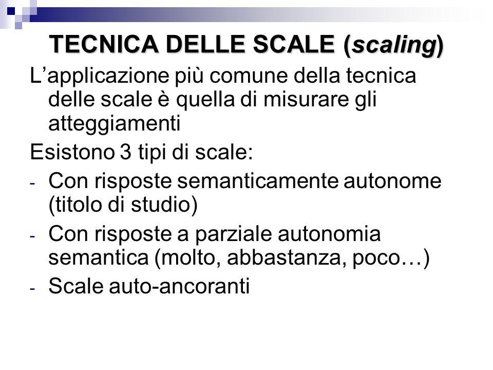TECNICA DELLE SCALE (scaling)
