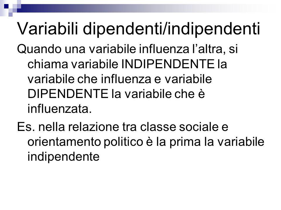 Variabili dipendenti/indipendenti