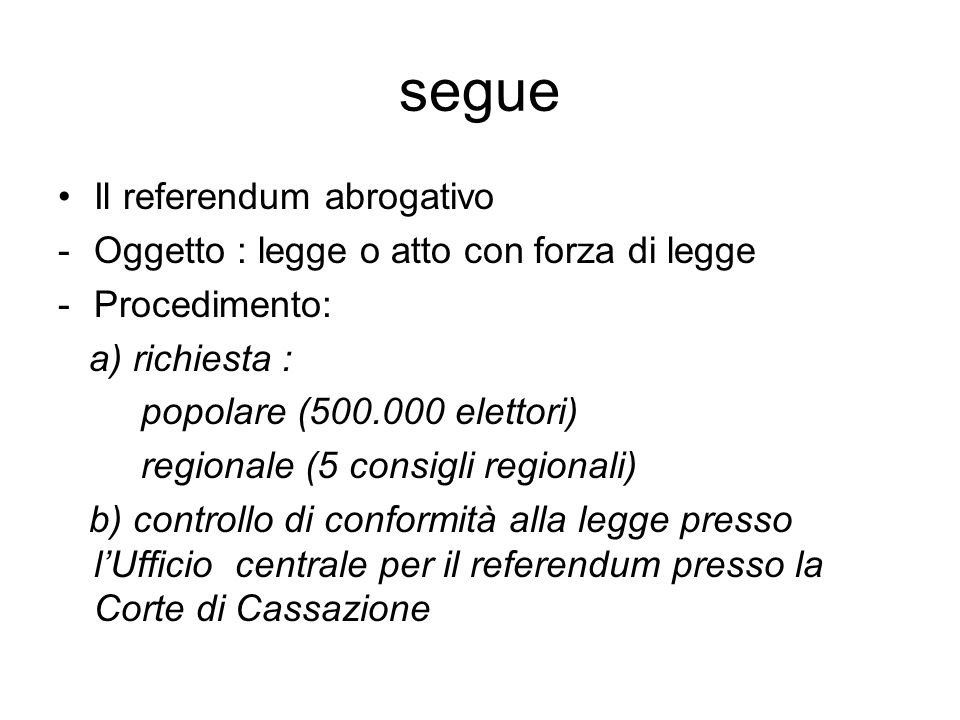 segue Il referendum abrogativo