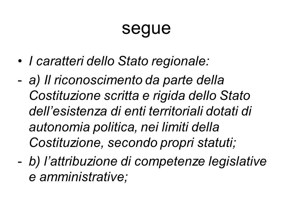 segue I caratteri dello Stato regionale:
