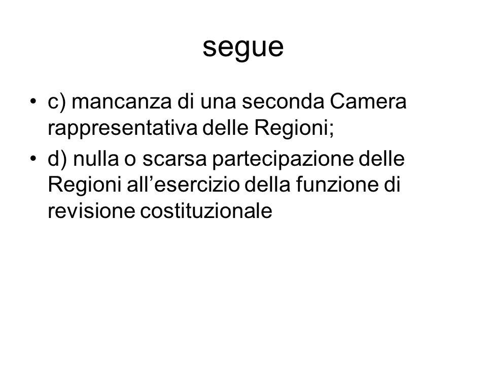 segue c) mancanza di una seconda Camera rappresentativa delle Regioni;