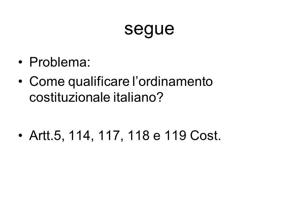 segue Problema: Come qualificare l'ordinamento costituzionale italiano.