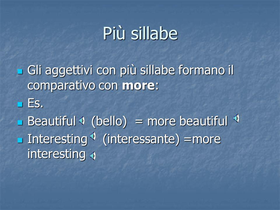 Più sillabe Gli aggettivi con più sillabe formano il comparativo con more: Es. Beautiful (bello) = more beautiful.