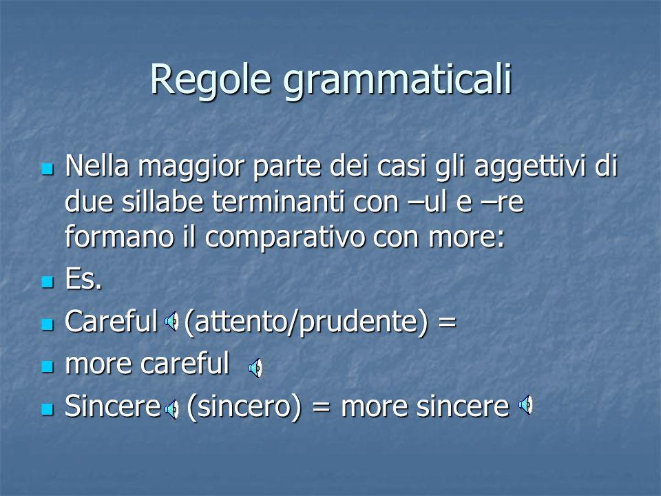 Regole grammaticali Nella maggior parte dei casi gli aggettivi di due sillabe terminanti con –ul e –re formano il comparativo con more: