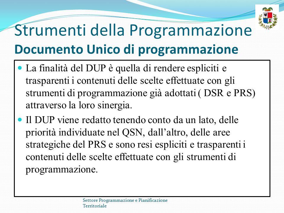 Strumenti della Programmazione Documento Unico di programmazione