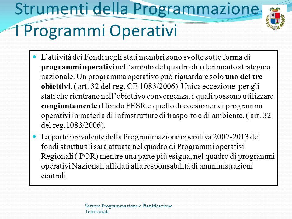 Strumenti della Programmazione I Programmi Operativi