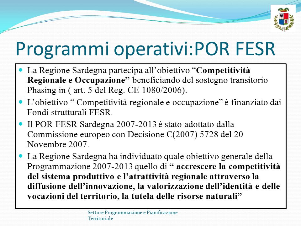 Programmi operativi:POR FESR