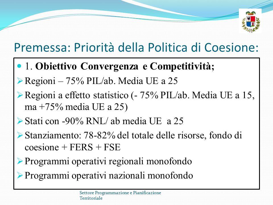 Premessa: Priorità della Politica di Coesione: