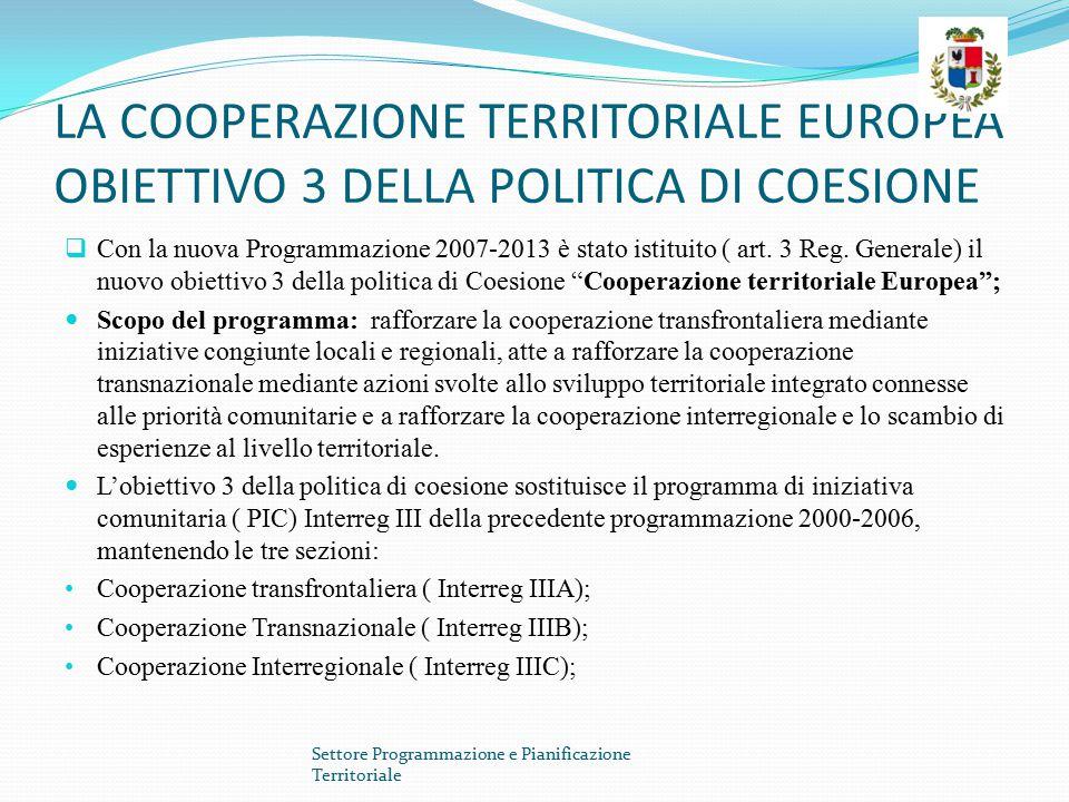 LA COOPERAZIONE TERRITORIALE EUROPEA OBIETTIVO 3 DELLA POLITICA DI COESIONE