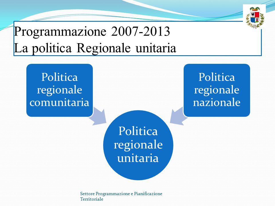 Programmazione 2007-2013 La politica Regionale unitaria